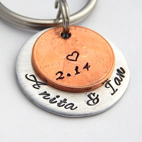 Penny Key Chain Couples Names and Date Lucky Penny Keychain