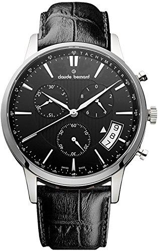Claude Bernard Men's 01002 3 NIN Classic Chronograph Analog Display Swiss Quartz Black Watch