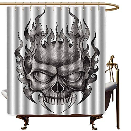 Godves Bathroom Curtains,Tattoo Decor Skull Face Head Mask with Teeth Horror Theme in Sketch Style Evil Metal Punk Rock,Fabric Shower Curtain Bathroom,W47x63L,Grey ()