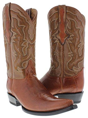 El Presidente - Men's Cognac Genuine Lizard Skin Leather Cowboy Boots 3X Toe 9 (Lizard Skin Cowboy Boots)