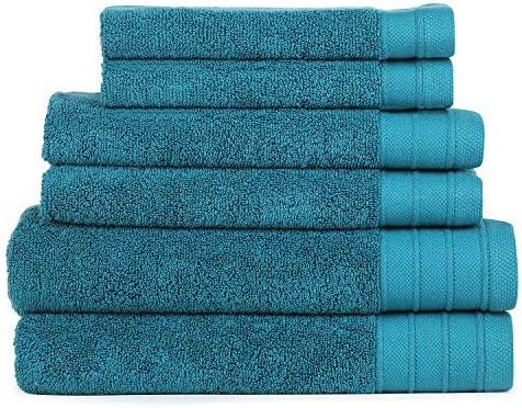 SweetNeedle - Juego de toallas Eco-Organic de 6 piezas, verde azulado - 2 toallas de baño 68x137 CM, 2 toallas de mano 40x60 CM, 2 toallas de lavado 30x30 ...