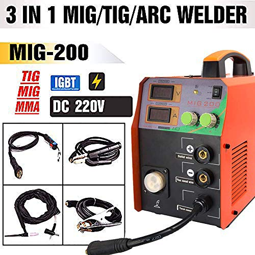 TOSENBA MIG Welder MIG/TIG/ARC Welder 3 in 1 Welding Machine DC 220V 200A MMA Inverter IGBT Digital Display MIG200