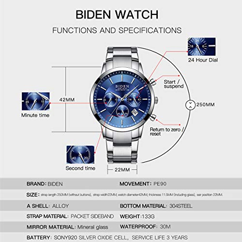 Watch,Mens Watches,Sport Casual Fashion Business Wrist Watch,Stainless Steel Waterproof Silver Blue Multifunctional Chronograph by ASWANWATCH (Image #6)