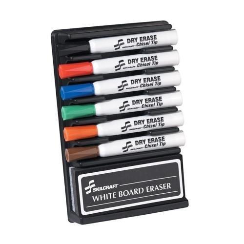 7520-01-352-7321 SKILCRAFT Dry Erase 6-Color Assorted Marker - Chisel Marker Point Style - Orange Ink, Black Ink, Black Ink, Red Ink, Blue Ink, Green Ink, Brown Ink - 6 / Set