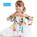 INvench Pop Beads Snap Girls Toys DIY Jewelry Set Cute Making Kit for Necklace Bracelet Art Crafts for 3 Year Above Kids Intelligence Educational Toy (85 Pieces)