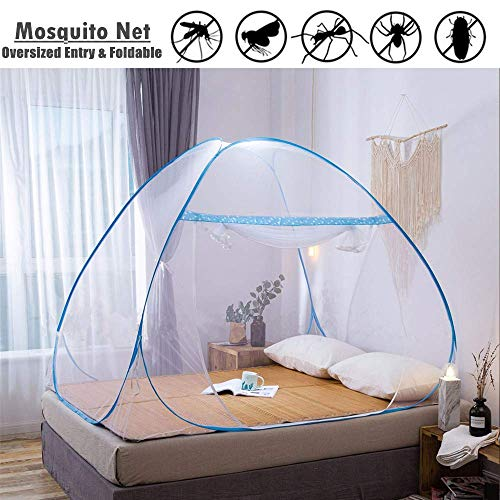 2 Years Warranty King Size, 180*200*150 cm Mosquito Net Bed Canopy Pop Up Foldable Double Door Easy to Setup with Bottom Anti Mosquito Bites for Bed Camping Travel Home Outdoor Blue