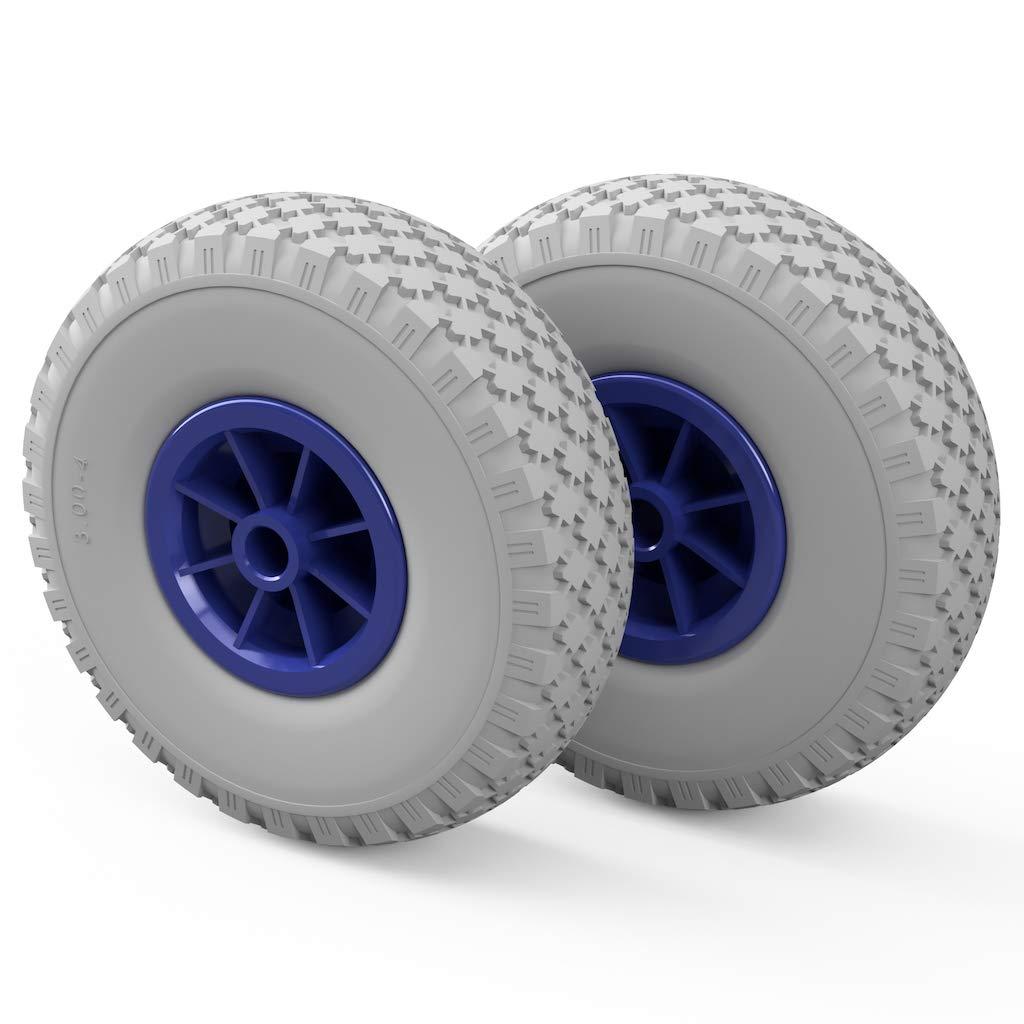 Gray//Blue 2 x PU Wheel /Ø 260 mm 3.00-4 Plain Bearing Puncture Proof