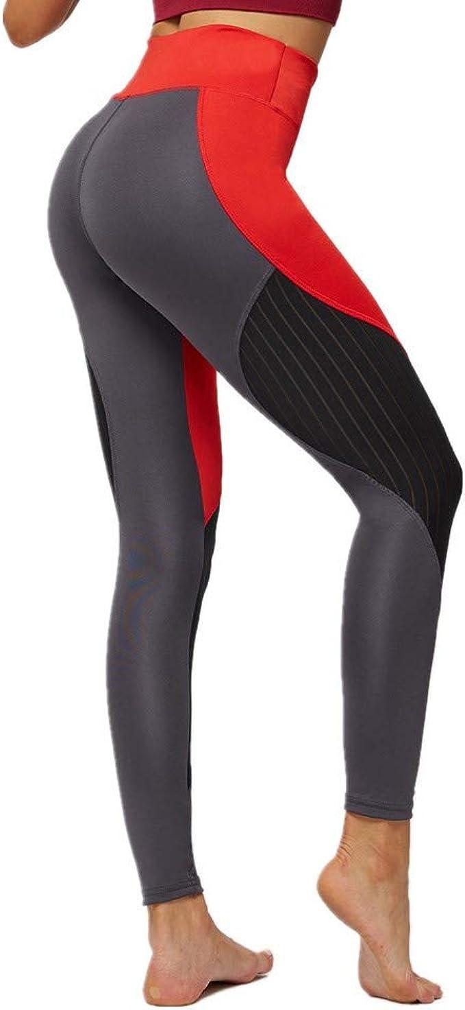 SXZG Nuevos Pantalones De Fitness con Costuras De Malla Gris Roja ...