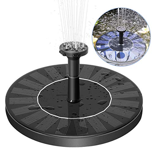 Royalsell Solar Fountain, Free Standing Solar Water Pumps with 5 Different Spray Pattern Heads for Pond, Pool, Garden, Fish