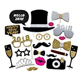 20PCS 2018 New Year's Eve Party Card Masks Photo Booth Props Supplies Decorations by 7-gost