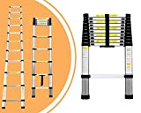 Leogreen - Telescopic ladder, Extendable Ladder, 10.5 feet, EN 131, Maximum load: 330 lbs, Distance between the rungs (ladder deployed): 30 cm