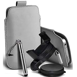 Motorola Moto T Protección Premium de PU Leather Tire Cord Tab Slip In Pouch Pocket piel con la aguja retractable de la pluma y de 360 ??Sostenedor giratorio del parabrisas del coche cuna Grey por Spyrox