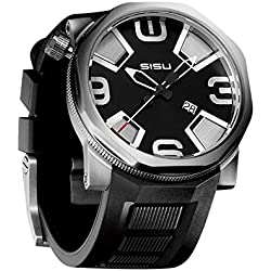 "SISU Bravado Q4 Quartz Men's Watch, Black ""Cross"" Dial, Rubber Strap (Model: BQ4-50-RB)"