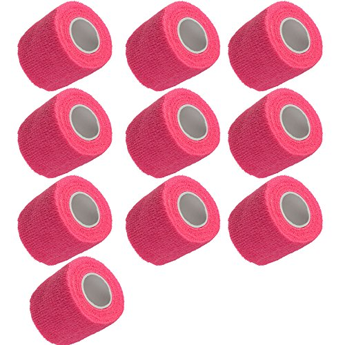 Etopars 10 X Self Adhesive Cohesive Wrap Bandages Strong Elastic First Aid Tape Pink for Wrist Ankle Sport 2'' X 5 Yards by Etopars
