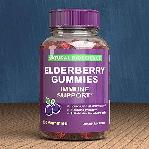 Sambucus Elderberry Gummies Family Size, 180 Gummies, for Children & Adults, with Vitamin C, Zinc & Black Elderberry Extract, Natural Herbal Supplement with Plant Pectin, Immune Support, Great Taste by Natural BioScience (Image #7)