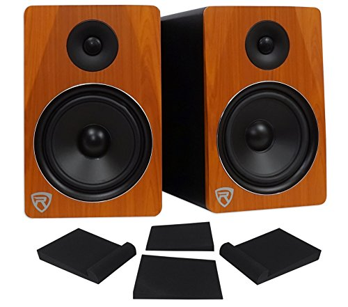 Pair Rockville APM8C 8'' 2-Way 500 Watt Powered USB Studio Monitor Speakers+Pads by Rockville