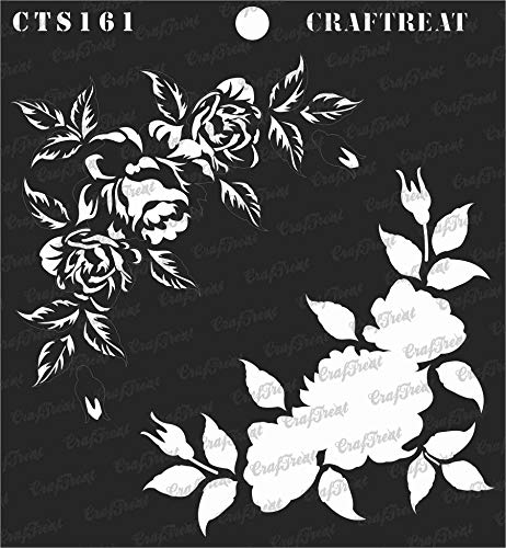 CrafTreat Stencil - 2 Step Layered Rose Corner Reusable Painting Template for Journal, Home Decor, Crafting, DIY Albums, Scrapbook and Printing on Paper, Floor, Wall, Tile, Fabric, Wood 6x6 Inches ()