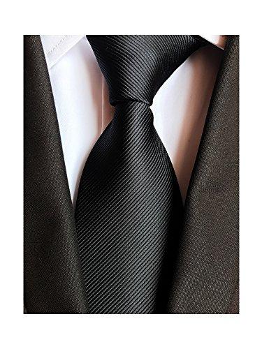 Men's Fashion Business Woven Black Satin Neck Ties 3.1