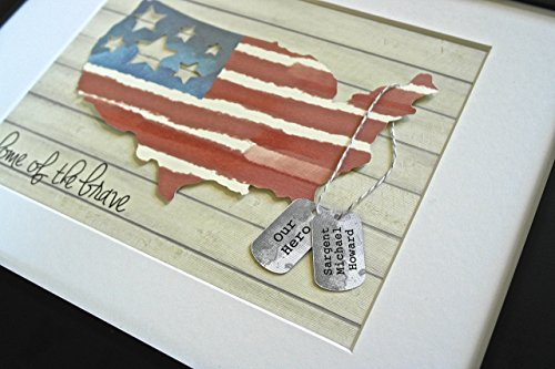 Unique Gift For Veteran, Military, Soldier, Army, Deployment - American Flag with Personalized Dog Tags