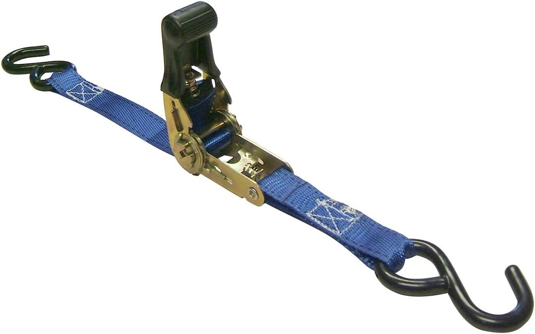 Pack of 2 Erickson 34400 Blue 1 x 15 Rubber Handle Ratcheting Tie-Down Strap,
