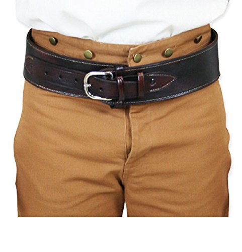 Spirit Locations Halloween Costumes (Historical Emporium Men's Plain Leather High-Rider Western Cartridge Belt .44/.45 cal 48 Brown)