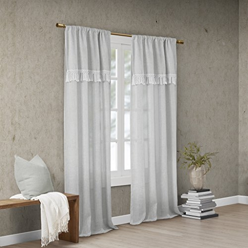 Madison Park Brynn Faux Linen Rod Pocket Window Curtain Panel with Attached Tassel Trim Valance Drape for Bedroom Living Room and Dorm, 50