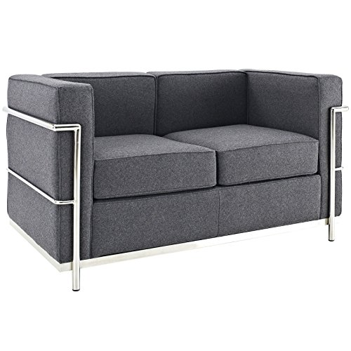 Modway Charles Wool Petite Loveseat in Dark Gray