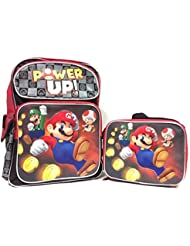 New Super Mario Power Up! Large School Backpack with Matching Lunch Bag