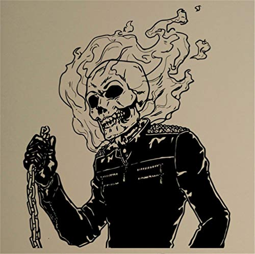 Jisao Vinyl Wall Lettering Stickers Quotes and Saying Flaming Skull Decal Ghost Rider Comics Antiheroes Graphics Bedroom Decor Cool (Vinyl Adult Rider Ghost)