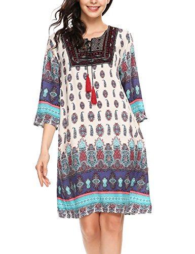 Zeagoo Women Vintage 3 4 Sleeve Bohemian Beach Ethnic Printed Loose Tunic Dress