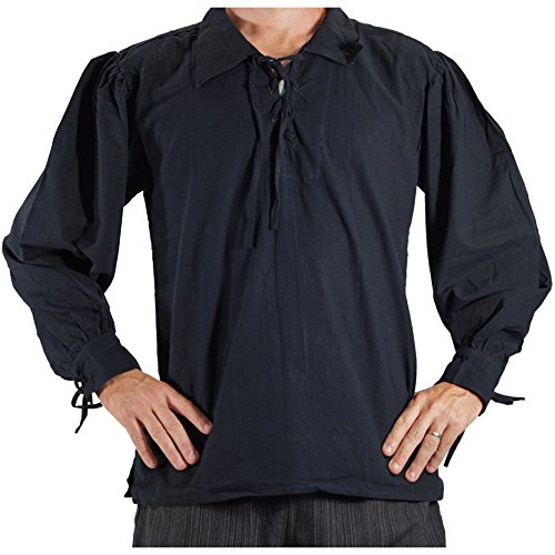 zootzu 'Merchant' Renaissance Festival Costume Shirt, Pirate, Steampunk - Black ()