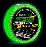 Glow in The Dark Fluorescent Tape by Tape Flow [30 Ft Length x 1'' Wide] | Luminous & Photoluminescent Emergency Safety Duct Tape for Stairs, Walls, Steps & Exit Sign | Super Sticky & Eco-Friendly