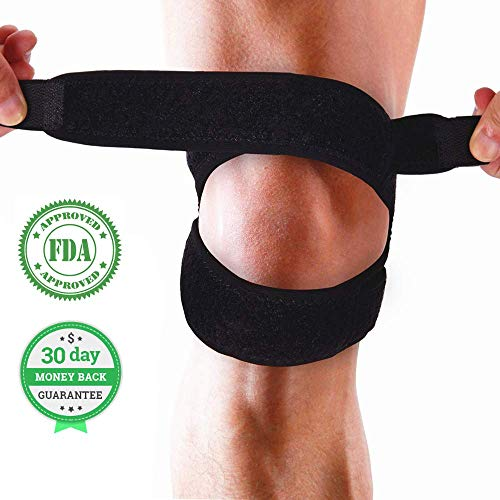 Dual Patella Knee Strap for Joint Pain Relief, Adjustable Knee Brace Support for Running, Arthritis, Jumper, Tennis, Riding, Yoga and Squats, Injury Recovery, Black