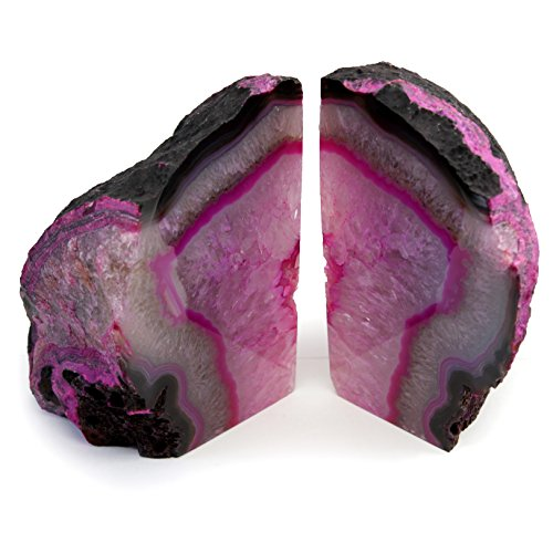 The Royal Gift Shop Genuine Brazilian Extra Quality Agate Bookends - Certified Mineral Guide Card Included. 3-6 lbs (Pink) by The Royal Gift Shop