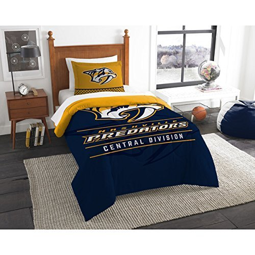 2pc NHL Nashville Predators Comforter Twin Set, Ice Hockey Themed, Blue Yellow, National Hockey League, Sports Patterned Bedding, Unisex, Fan Merchandise, Team Logo, Team Spirit