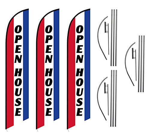 Three (3) Pack Swooper Flags & Pole Kits Open House Red White Blue - Open House Banner