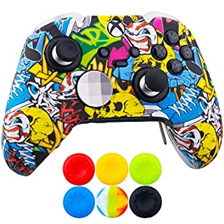 9CDeer 1 x Protective Customize Transfer Print Silicone Cover Skin Cartoon Skulls + 6 Thumb Grips Analog Caps for [Xbox One Elite] Controller Compatible with Official Stereo Headset Adapter