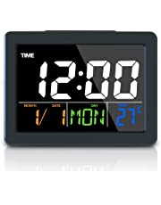 JJTGS Digital Alarm Clock with Usb Port for Charging Snooze, Timer, Sound Control, 12/24hr, World Time Pattern, Month Date & Temperature Display, Light Night Clock for Bedside Non Ticking