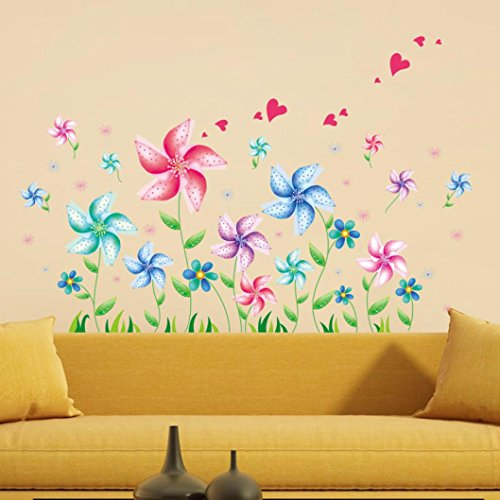 Usstore 1PC Flower DIY Cat and tree Windmill Feather Home Decor Removable Wall Stickers Art Decor For Walls Ceramics Glass Window Living Home kid Room - Decor Switchplate Light Ceramic Home