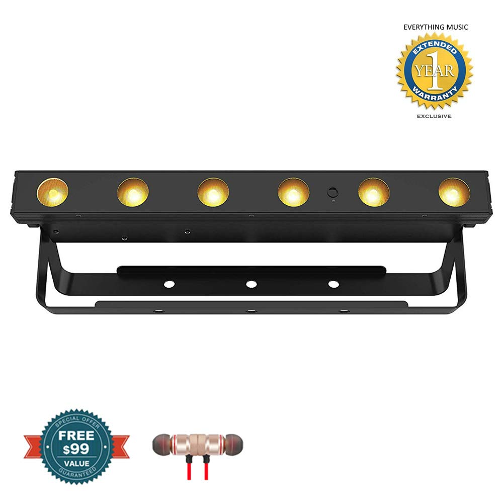 Chauvet DJ EZLINK STRIP Q6 BT Wireless RGBA Linear Wash LED with Bluetooth includes Free Wireless Earbuds - Stereo Bluetooth In-ear and 1 Year Everything Music Extended Warranty