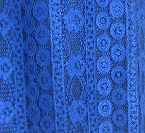 Di 3 Lunghezza 4 Royal Maniche Vestito Blu Nuovo Da Merletto Donne Partito Signore Del Sera Del Flutted Floreale nqg7PxnwC