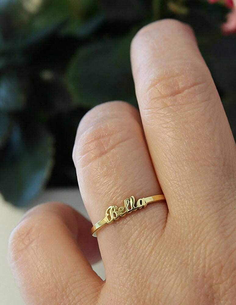 NOUMANDA Tiny Name Ring Personalized Gold Jewelry Statement Bands Gift