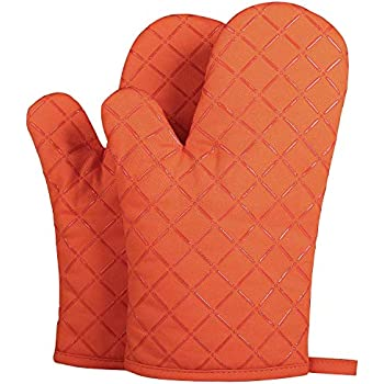 ETECHAMART Cotton Oven Mitts with Silicone Heat Resistant Quilted Microwave Gloves for Baking and Kitchen Thanksgiving Day Christmas Gift One Pair (Orange)