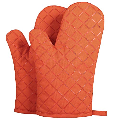 (ETECHMART Cotton Oven Mitts with Silicone Heat Resistant Quilted Microwave Gloves for Baking and Kitchen One Pair (Orange) )