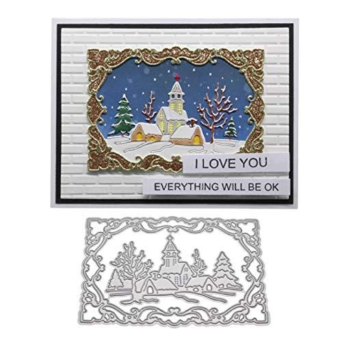Christmas Metal Cutting Dies Snow Cabin Tree Scrapbooking DIY Paper Cards Craft Silver