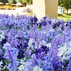Wootkey 12 Pack Artificial Flower Mixed Color Lavender 4 Bundle Arrangement for Wedding Bouquet Silk Fake Faux Flowers with Greenery Leaves Stems Table Centerpiece Ideas DIY Home Decor Party 5