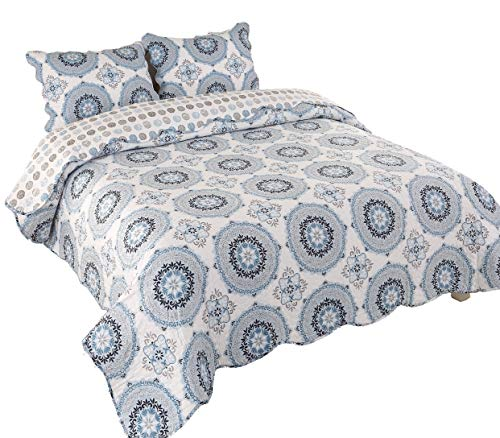 Mohap AYA Quilt Collection Brushed Microfiber 3-Piece Plush Experience Wrinkle Fade Resistant Queen Size (Queen/86 x96, Pattern #6)
