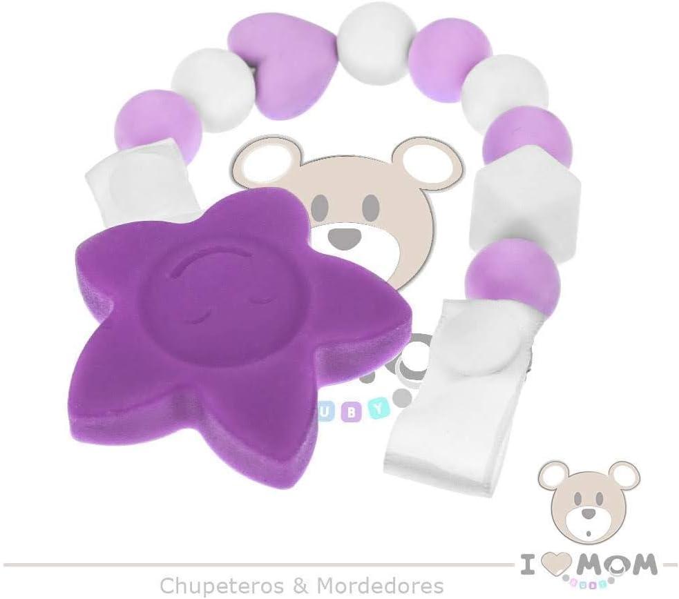 Env/ío desde Espa/ña RUBY Cadena chupete silicona chupetero para beb/é con bola y pinza de estrella con cara feliz de silicona libre de BPA y antibacteria Amarillo Pastel