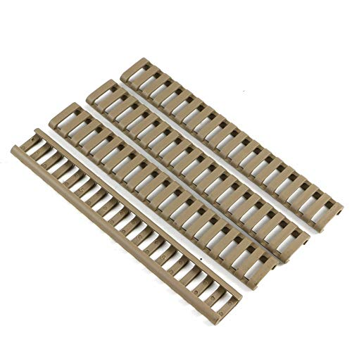 Picatinny Rails Ladder Rail Panel HeatResistant Rubbery Covers 18 Slots Fits M-LOK/Keymod Picatinny Rails - 4 Pieces (FDE)