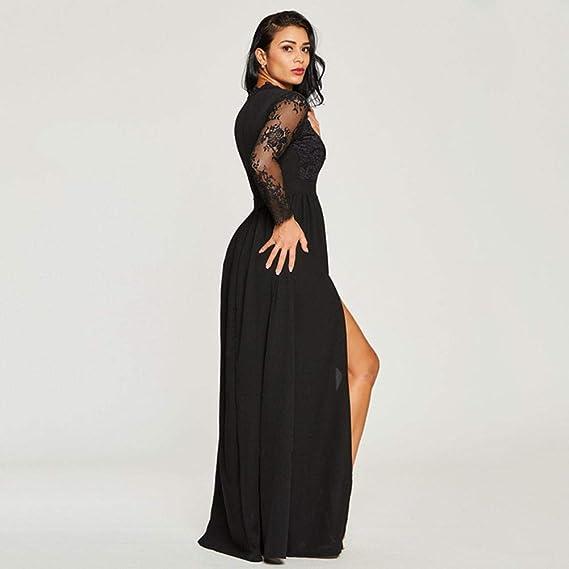 Damen Kleid Elegant Party Spitzekleid Solide Abendkleider Langes Partykleid  Frauen Vintage Kleider Cocktailkleider V-Ausschnitt Langarm Ballkleid  ... 4bf87c5e45